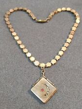 ANTIQUE VICTORIAN GOLD FILLED BOOK CHAIN CRESCENT MOON LOCKET NECKLACE
