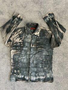 Tween 41-42 Large Men's ruffled quirky shirt grey tie-dye style