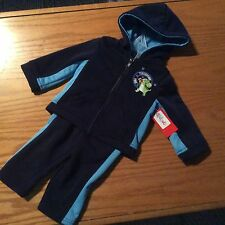Blue & Navy SIZE 6/9 Fleece 2pc Zip Front Mesh Trimmed Athletic Play Set NEW