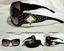 Silver & Crystal Concho Cowgirl Sunglasses Diamante Bling UV400 Protection Black