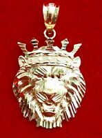 New Real Solid 10K Gold KING LION HEAD WITH CROWN Small Pendant Charm Pc
