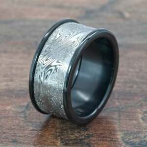 New 10mm Wide Damascus Steel Ring w/ Acid Etching and Black Zirconium: