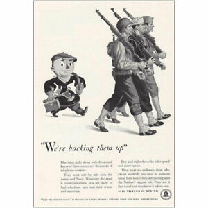 1942 Bell Telephone: Backing Them Up Military Vintage Print Ad
