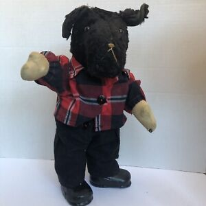 ANTIQUE Rare  MOHAIR DOG PLUSH STUFFED ANIMAL  POODLE PUPPY DOGGY PUP VINTAGE