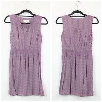 LOFT XS Petite Womens Maroon Print Sleeveless Dress
