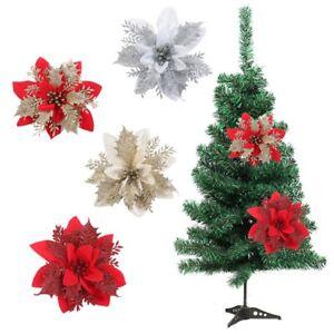 5/10Pcs Christmas Tree Flowers Glitter Ornament Decor Poinsettia Xmas Gift