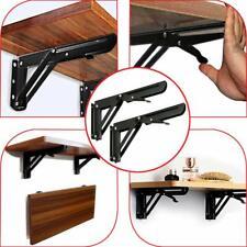 2 x Folding Wall Brackets, Flexible Storage, Heavy Duty, Folding Shelves, Black