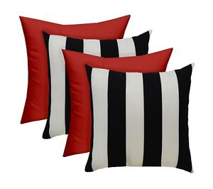 """SET OF 4 - Outdoor Black/White Stripe and Solid Red Pillows - 17"""" x 17"""""""
