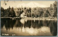 RPPC Postcard Mt Shasta CA California calm lake view with house in the tree line