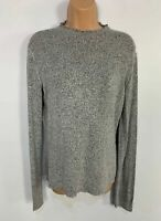 WOMENS ZARA GREY MARL LONG SLEEVE CASUAL JUMPER SWEATER PULL OVER SIZE EUR SMALL
