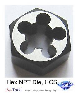 """1/2-14 NPT Hex Pipe Die 1-3/8"""" Hex OD High Carbon Steel for Taper Thread Repair"""