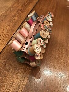 Vintage ZieRold Pink aluminum / metal sewing thread holder full of thread !