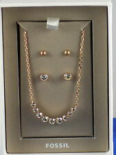 Fossil Brand Rose Gold Stainless Bezel Crystal Necklace Stud Earrings Set $100
