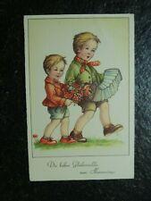 Alte AK , Jungen mit Ziehharmonika , ...zum Namenstage , sign. R , (B544)