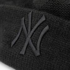 NEW ERA Cap MLB NY Yankees Bommel Mütze Beanie Winter Jacquard Schwarz SALE