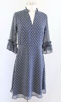 Ann Taylor Factory Navy Blue Chainlink Print Ruffle Trim Shirt Dress Size 2