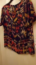 WAREHOUSE SILK Formal T shirt short sleeve Black/orange/yellow size 12