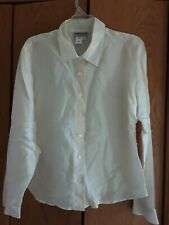 Women's COLDWATER CREEK size L button front, 100% Silk Blouse  Shirt  Ivory