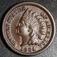 1864 INDIAN HEAD CENT - With LIBERTY - VF VERY FINE Details - Bronze