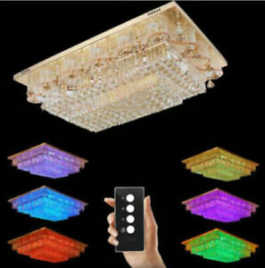 luxury Modern chandeliers remote LED Flush Mount K9 crystal ceiling lamps #0078