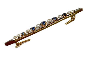 Beautiful Vintage 14CT Gold Claw Set Blue Sapphire Pearl Brooch Tie Pin BOXED