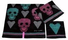 3 Blk Betsey Johnson Diamond Skulls Hearts Velour Bath Hand Towel Washcloth Nwt