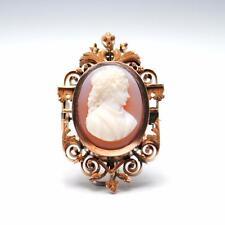 Antique Victorian 14K Gold Carnelian Agate Hard Stone Cameo Brooch Pin Pendant