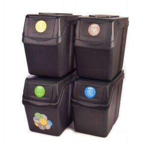 Set of 4 Waste Stackable Bins Trash Segregation Recycling Ecology RUBBISH