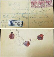 O) 1955 SINGAPORE, KING GEORGE VI - SCOTT A1 10C, REGISTERED CANCELATION SINGAPO