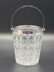 VTG W Germany CUT CRYSTAL Barware Wine/Ice Bucket w/Italian Silver Plated Handle
