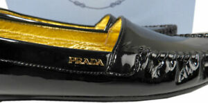 PRADA Loafers Black Patent Leather Driver Driving Moccasins Flat Shoes Sz 38.5