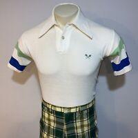 Vtg 60s 70s Tennis Shirt KMART Country Club polo Bjorn Borg Striped MENS MEDIUM