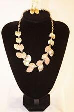 Gold Tone Pink Leaves Jxdw New Necklace & Earrings Set Premium Fashion Jewelry