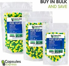 Size 3 Green & Yellow Empty Gelatin Pill Capsules Kosher Gel Caps Made in USA