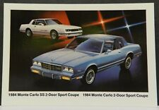 MONTE CARLO SS COUPE SPORT USA 1 1984 84 PROMO CHEVY DEALER DEALERSHIP POSTCARD