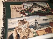 VTG Cats & Seasons Afghan Throw Blanket Woven Tapestry Kitten Country Wall Hang