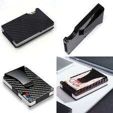 Slim Credit Card Holder RFID Blocking Metal Wallet Purse Carbon Fiber Money Clip