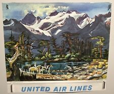 Original vintage travel Poster United Airlines Olympic Peninsula Washington
