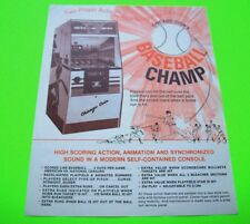 Chicago Coin Baseball Champ Original Vintage 1973 Pitch & Bat Arcade Game Flyer