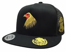 Medio Gallo El Chapo Cara 3 Logos Hat Black Mesh �guila Visera Gold Logo Federal