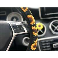 Sunflower Printing Car Steering Wheel Cover Interior Decorate Styling SL