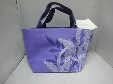 CRABTREE & EVELYN  LAVENDER DECORATED FABRIC SATCHEL / LUNCH TOTE BAG