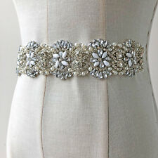Pearls Diamante Bridal Evening Dress Applique Rhinestone Wedding Costume Chain