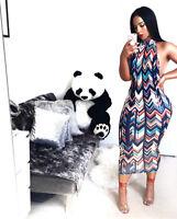 Women sleeveless halter backless print bodycon club party midi summer dress