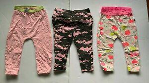 3 pair leggings - pink, floral, bats. size 12-18 months