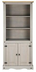 Corona Grey Wax 2 Door Bookcase Display Unit - Mexican Solid Pine