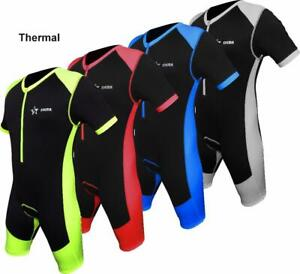 Mens Cycling Thermal Skinsuit Padded One Piece Trisuit Bike Top Short winter