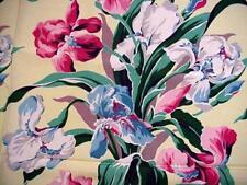 Vintage Colorful IRIS BOUQUET Floral Fabric DRAPERY Spectrum Original VAT COLOR