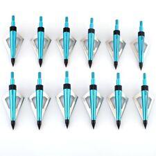 12pcs Blue 3 Blade Broadheads 125grain Archery Arrow Head Hunting Tips