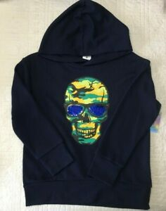New Boys Oversize Hoodie Skull Graphic & Sequins Navy French Terry Choose Size